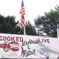 The billboard - cooked and live, wholesale and retail lobsters.