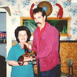 Young Bob with a lobster.